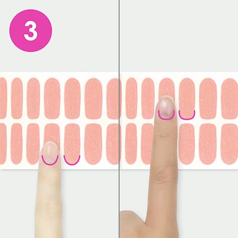 爪の根元の形とシールの形を比べる