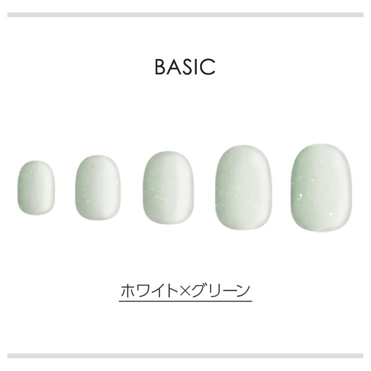 BASIC/ホワイト×グリーン ネイルチップイメージ